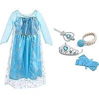 URAQT Reine des Neiges Elsa Costume et Accessoires Gants Couronne Baguette Tresse Robe Longue Deguisement pour Fille