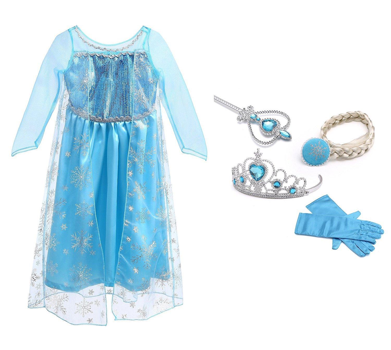 URAQT Vestido de Princesa Elsa, Reina Frozen Disfraz Elsa Vestido Infantil Niñas Costume Azul Cosplay de Disney Disfraz de Halloween, Cumpleaños, Carnaval y la Fiesta (100) Azul