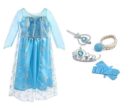 227 opinioni per URAQT Regina Elsa Principessa Costume Halloween Abiti Carnevale Bambini