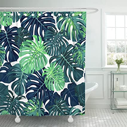 Emvency Waterproof Shower Curtain Curtains Black Green Pattern With Monstera Palm Leaves On Dark Summer Tropical