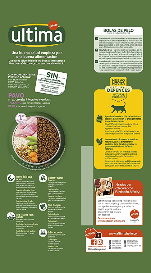 ultima Pienso para Gatos para Prevenir Bolas de Pelo, Sabor Pavo - 1.5 kg: Amazon.es: Alimentación y bebidas