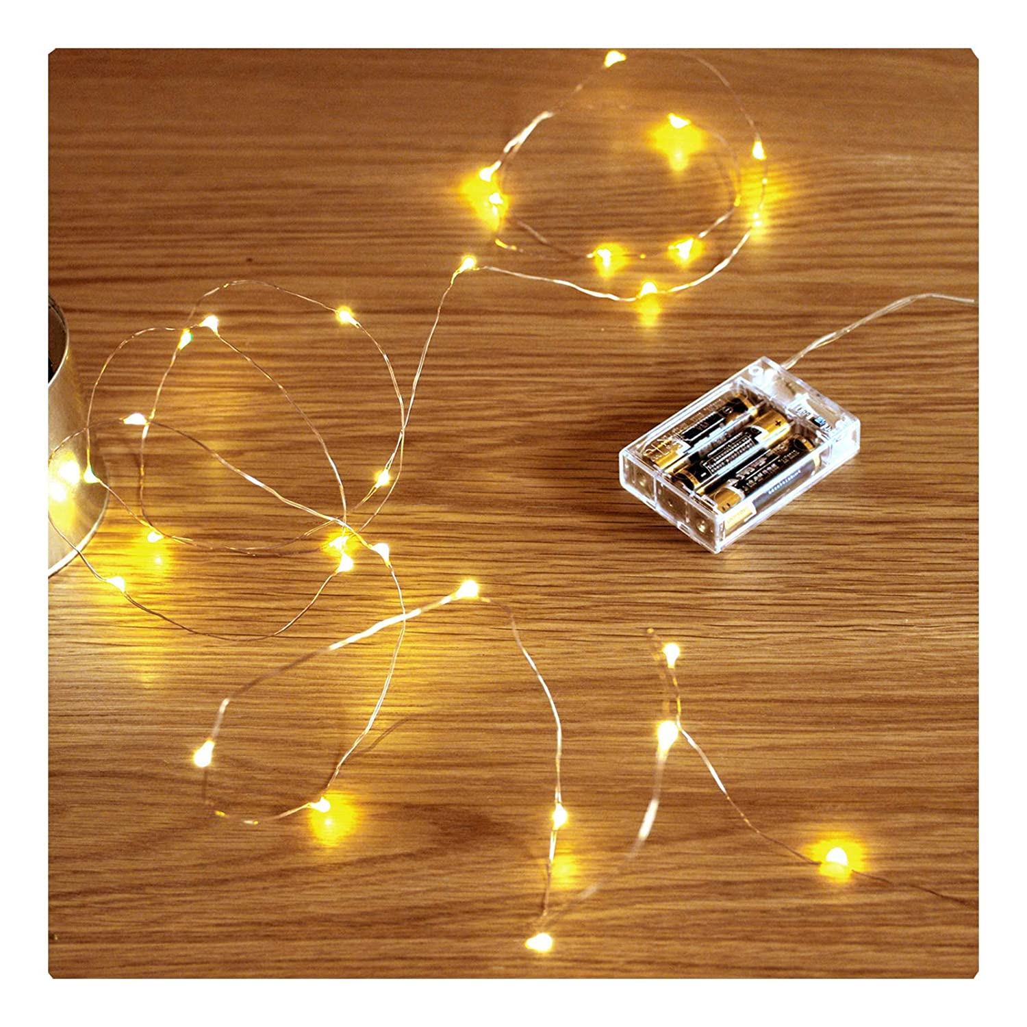 Led String Lights,FairyDecor 2 Sets 2M/7.2ft Starry Fairy Copper Wire Battery Operated String Lights,Led String Lights for Kids Girls Bedroom/Garden Decoration(2 Packs)