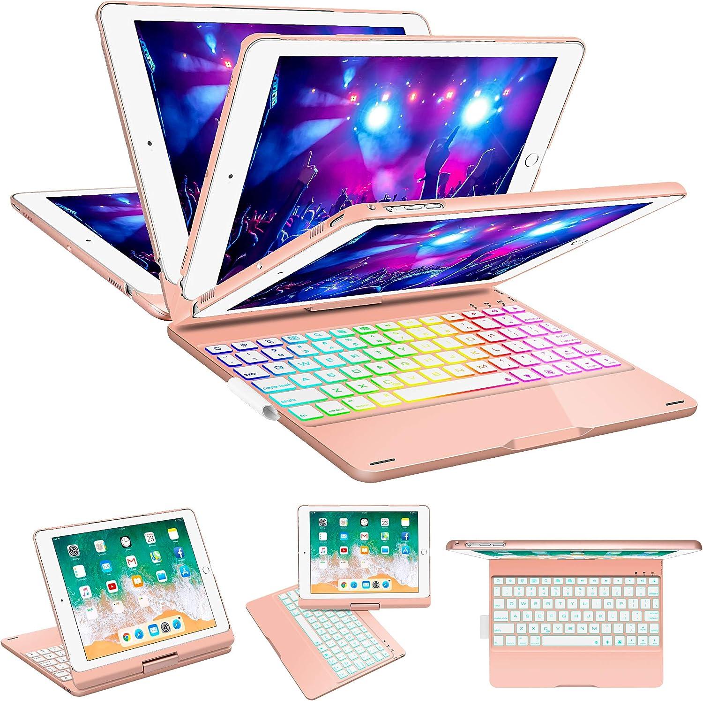 SZILBZ iPad Keyboard Case 9.7 for iPad 2018(6th Gen)-iPad 2017 (5th Gen)-iPad Pro 9.7-iPad Air 2&1-360 Rotatable & 180 Flip Ultrathin -7 Color Backlit-Auto Wake Sleep(Rose Gold) …