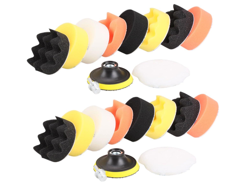 Antrader Car Foam Drill Polishing Pad Kit 22 PCS 3 Inch////80mm Sponge Buffing Waxing Sealing Glaze Pads Set