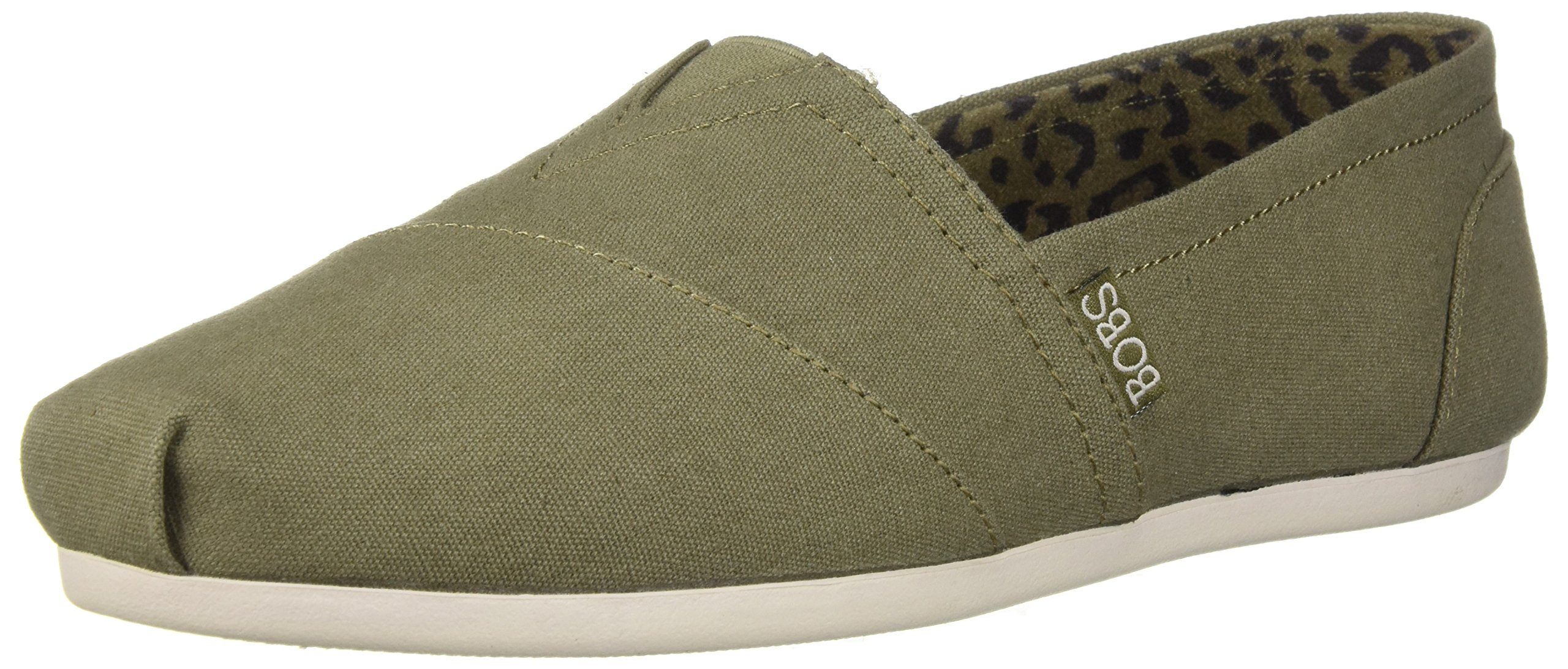 Skechers BOBS Women's Bobs Plush-Peace and Love Sneaker, Olive, 9 M US