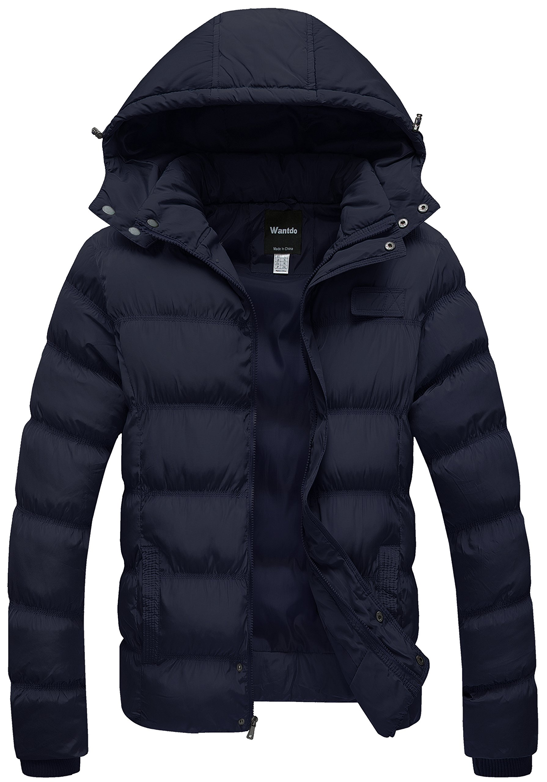 Wantdo Men's Winter Thicken Cotton Coat Puffer Jacket With Removable Hood US Large Blue