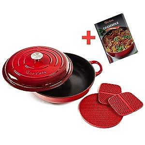 Uno Casa Enameled Cast Iron Skillet - Casserole Dish with Lid - 3.7 Quart Enamel Cookware Pot