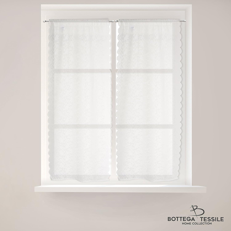 BOTTEGA TESSILE Coppia di Tendine per finestra/balcone Mod.MASCOW, Colore Naturale - Mis. 60 x 150 cm, Design Ricamato - Semi Coprente -Tessuto in Pizzo
