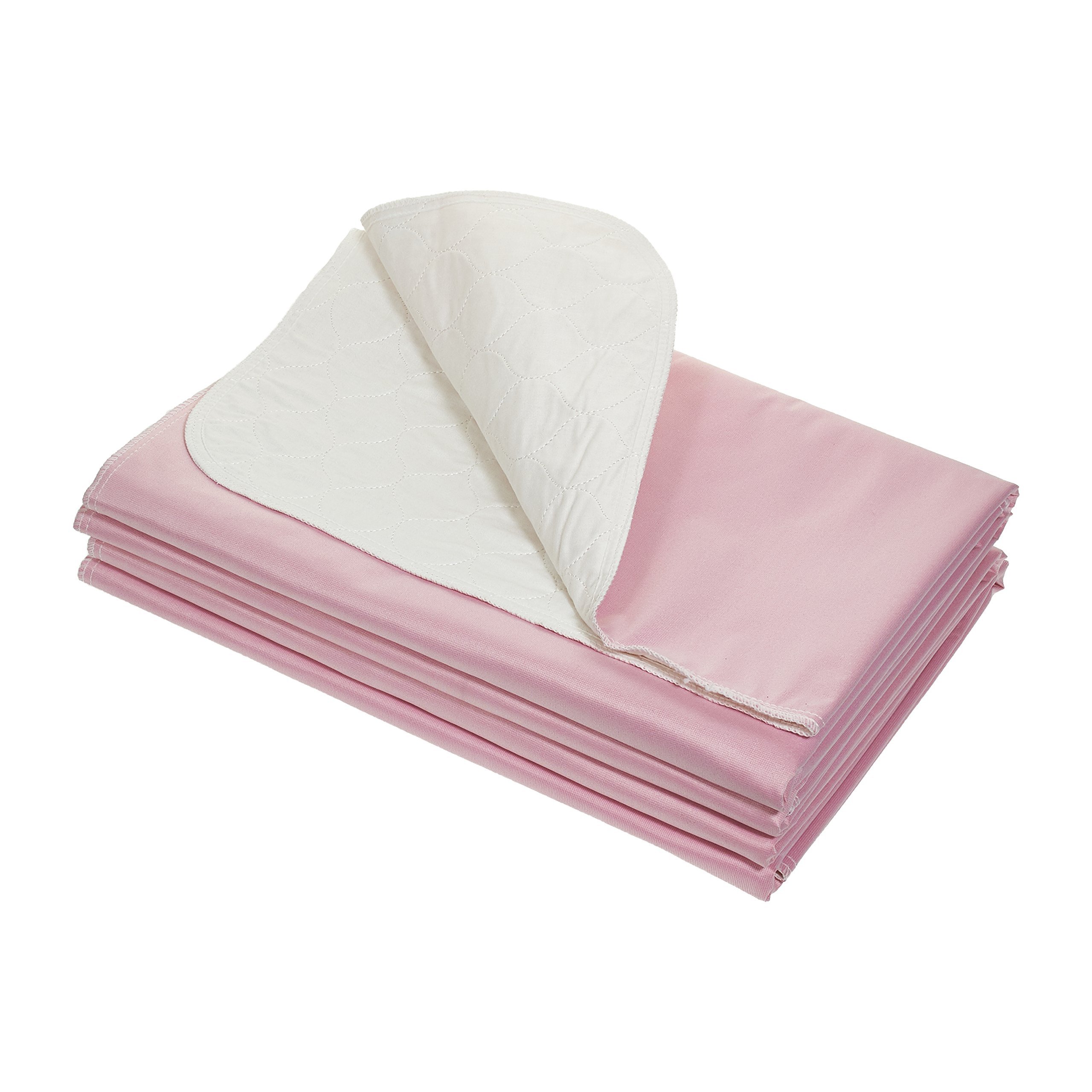 Reusable Bedpad, Pack of 4 Pink Washable Underpads 34''x36'' (4)