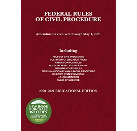 Federal Rules Of Civil Procedure Educational Edition 2020 2021 Selected Statutes Spencer A Benjamin 9781684679904 Amazon Com Books