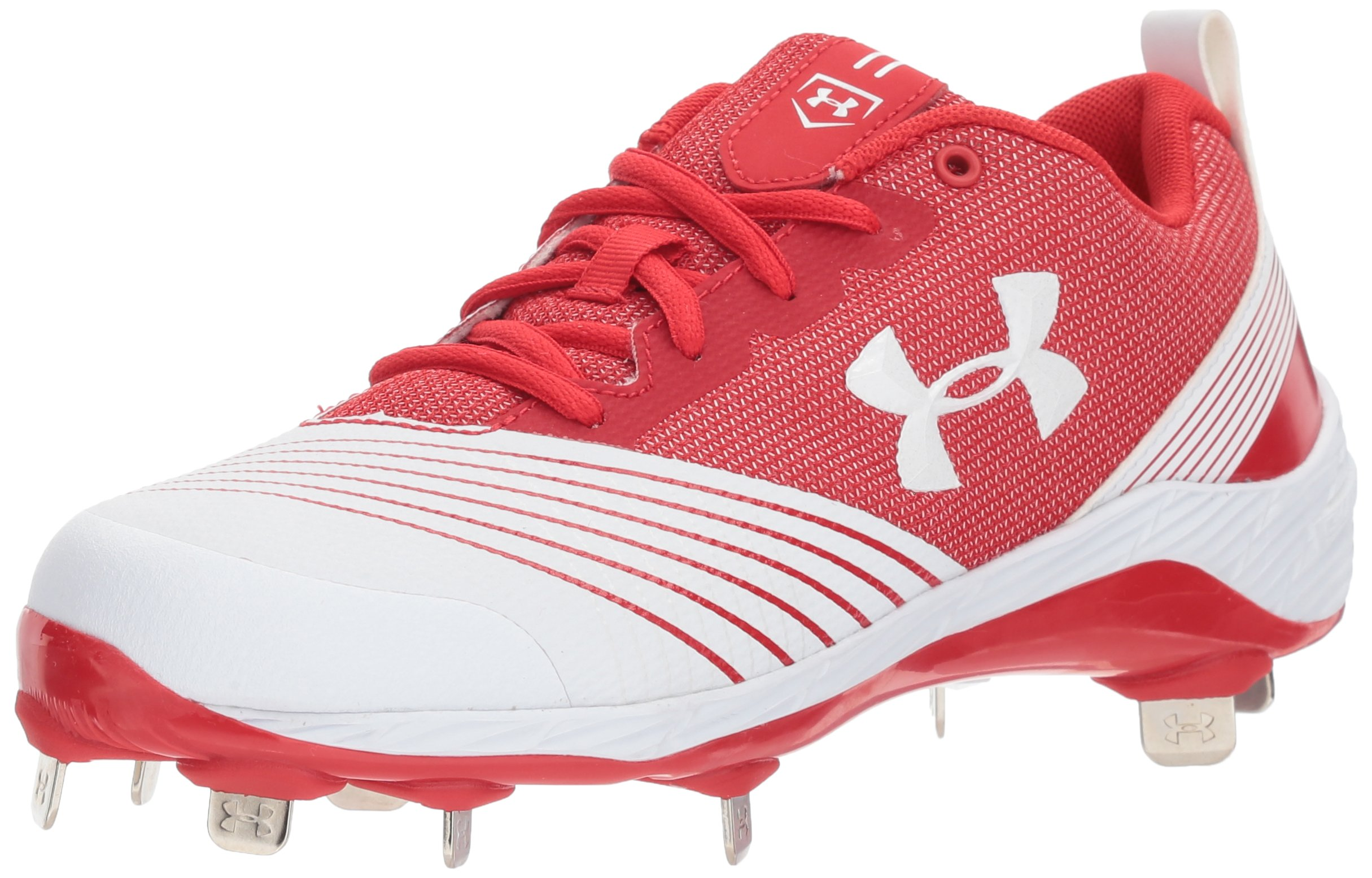 Under Armour Women's Glyde ST Softball Shoe, White (161)/Red, 11 by Under Armour