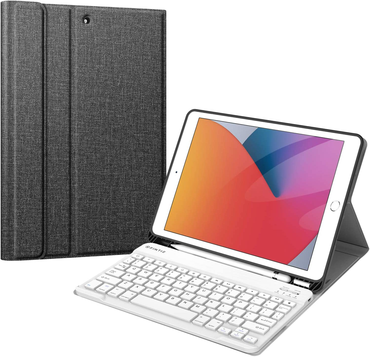 Fintie Keyboard Case for New iPad 8th Gen (2020) / 7th Generation (2019) 10.2 Inch, Soft TPU Back Stand Cover with Pencil Holder, Magnetically Detachable Wireless Bluetooth Keyboard, Gray