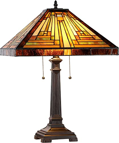 Chloe CH833359MR16-TL2 16 Shade Innes, Tiffany-Style 2 Light Mission Table Lamp