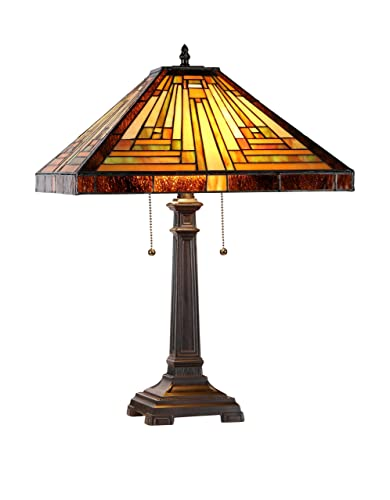 Chloe Lighting CH16780VG16-TL2 Amor Tiffany-Style Victorian 2 Light Table Lamp with Shade, 21.5 x 16 x 16 , Multicolor