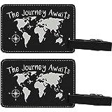 The Journey Awaits World Traveler Laser Engraved Leather Luggage Tags
