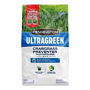 Pennington 100536604 UltraGreen Crabgrass Preventer Plus Lawn Fertilizer, 12.5 lb, Covers 5000 sq'