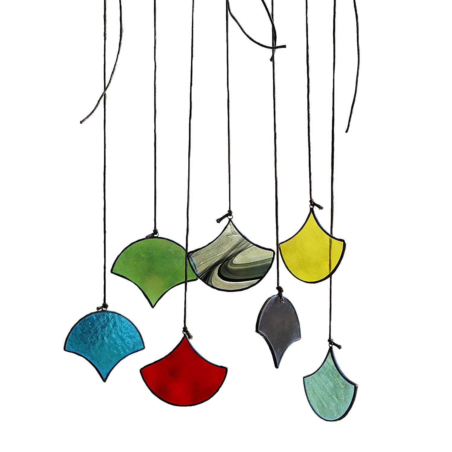 HAOSUM Suncatchers Set of 7 Multicoloured Stained Glass Window Hangings Ornament Sets Handmade for Home, Garden, Patio and Party Decoration HSSGA001