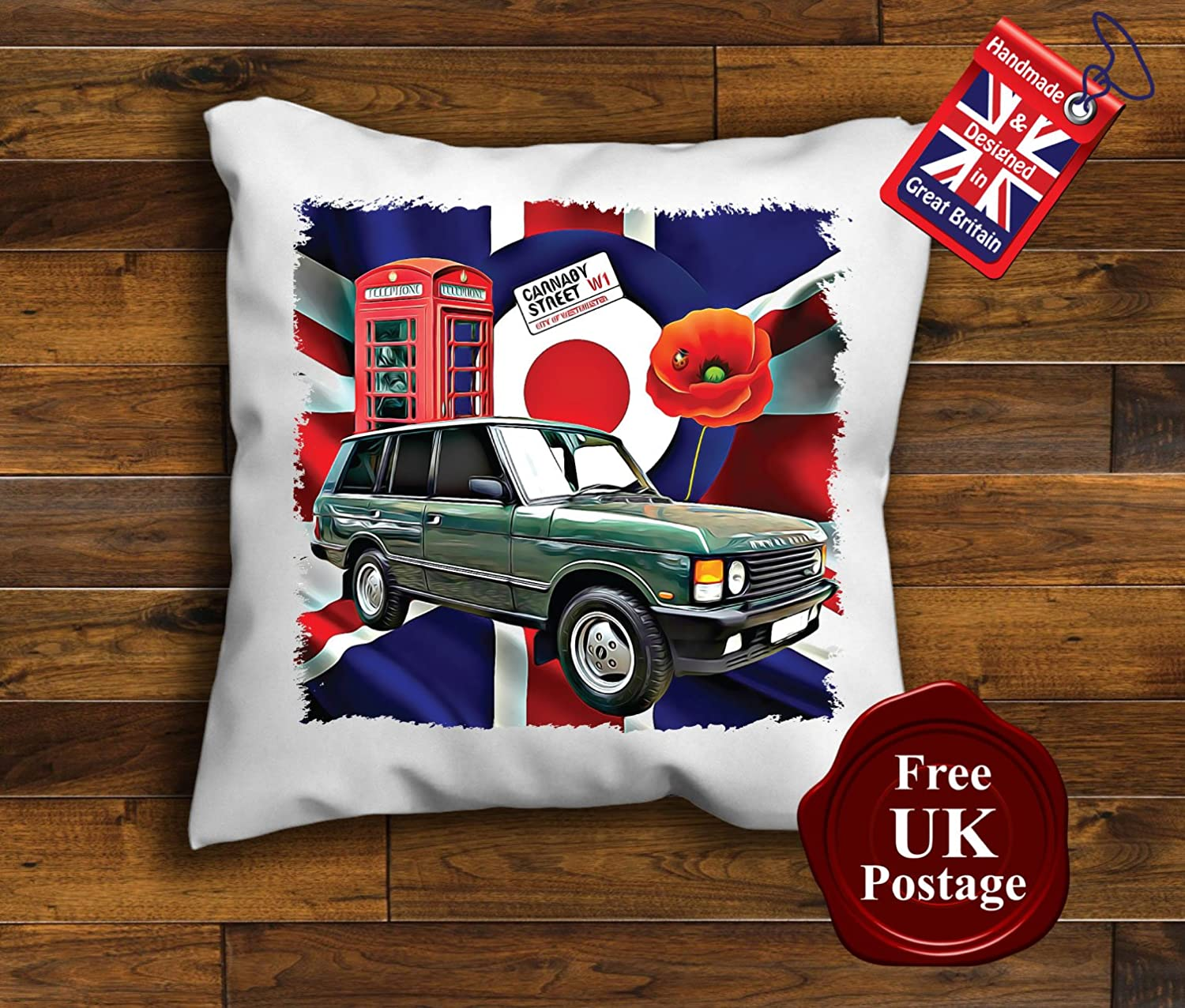 Range Rover Cushion Cover, Union Jack, Mod Target, Poppy, Phone Box, Choice of sizes, Handmade 10 to 20 inch See Description