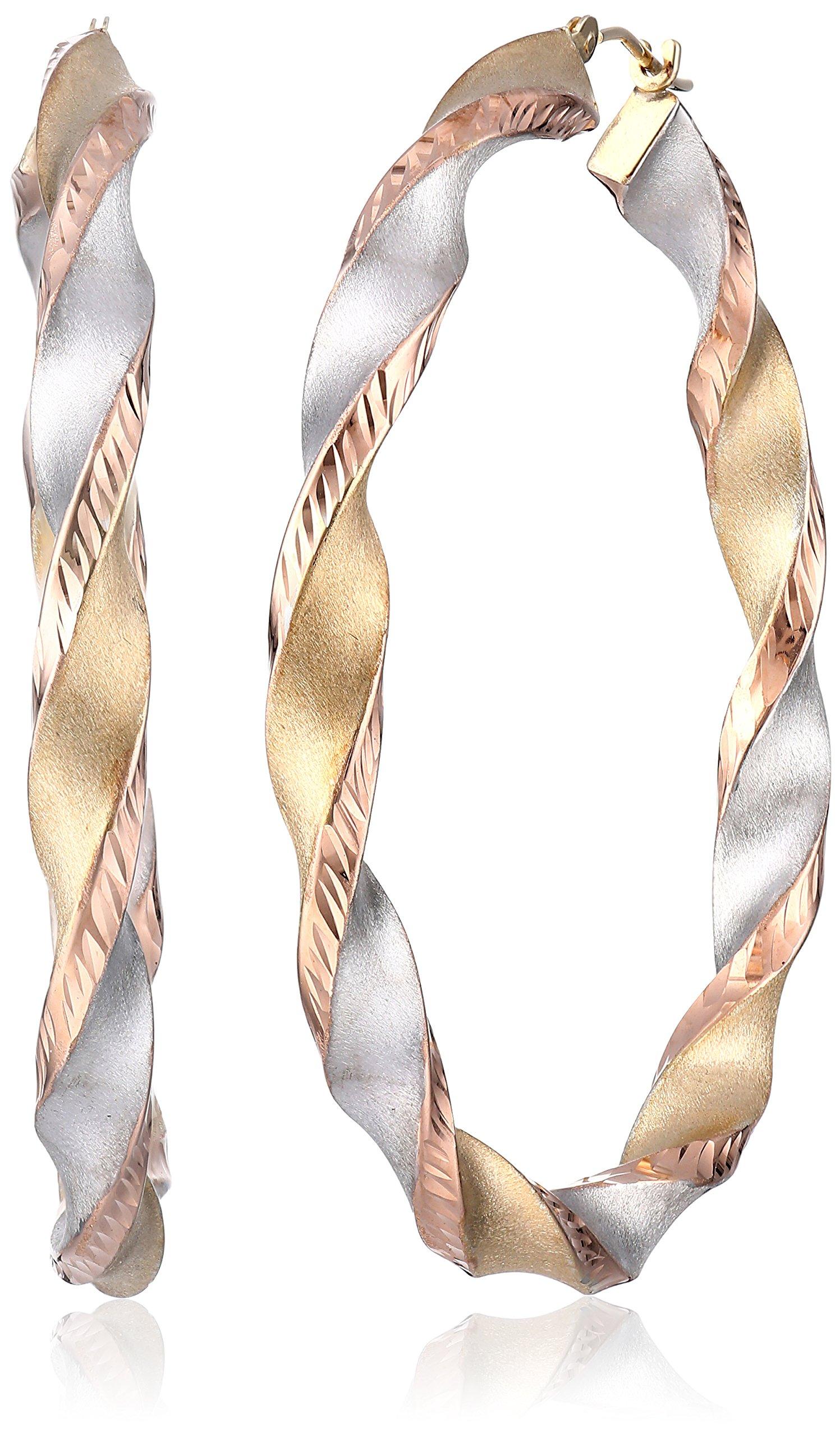14k Gold-Bonded Sterling Silver Tri-Color Twist Hoop Earrings