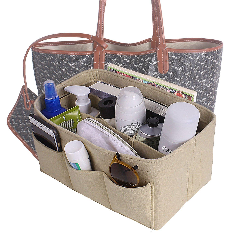 Felt fabric bag in bag purse organizer insert for handbags/tote (Large, Beige)