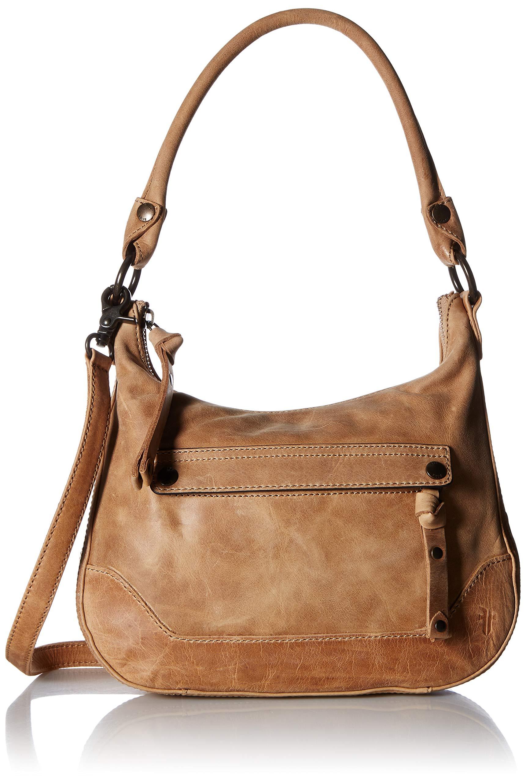 FRYE Melissa Zip Small Leather Hobo Crossbody, beige