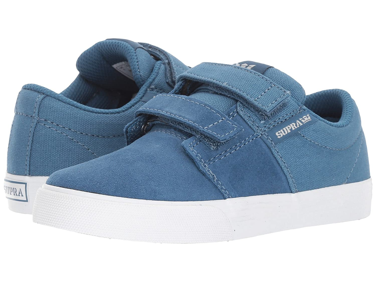 Supra Kids Stacks II Vulc Velcro Shoes Slate White