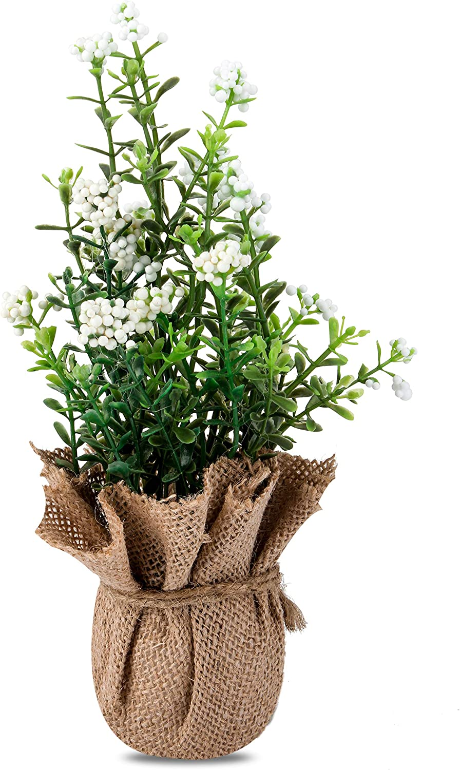 Jusdreen Mini Artificial Foam Flower Bonsai Arrangement with Hemp Rope and Linen for Home Office Décor House Decorations Furniture Decorations(White Flowers)