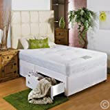 "Hf4you White Memory Soft Divan Bed - 3ft 6"" Large Single - 2 Drawers Same Side - No Headboard"