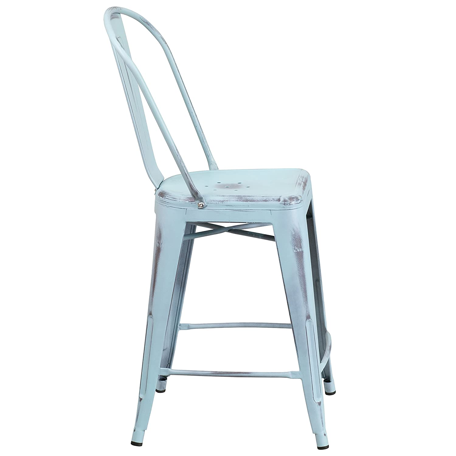 Amazing Amazon.com: Flash Furniture 24u0027u0027 High Distressed Green Blue Metal  Indoor Outdoor Counter Height Stool With Back: Kitchen U0026 Dining
