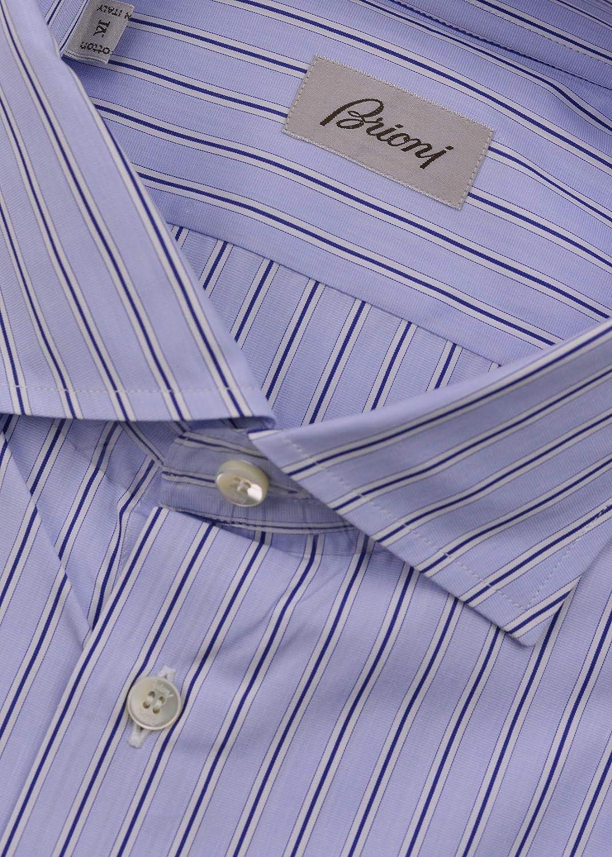 Brioni Mens Light Blue Striped Cotton Button Down Dress Shirt EU47//US18.5~$700