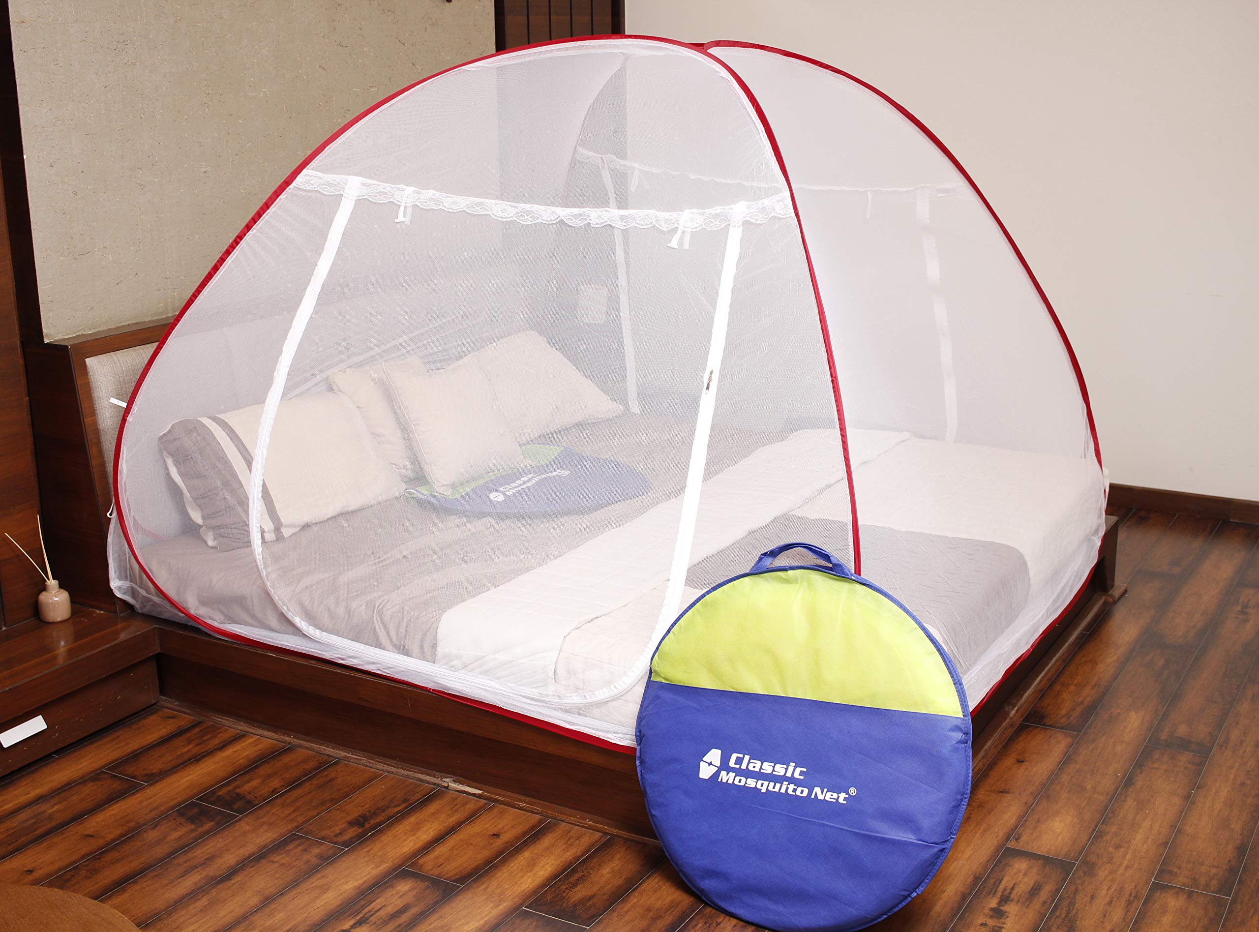 Classic Mosquito Net Foldable King Size,Queen Size Double Bed With Saviours - (Red) product image