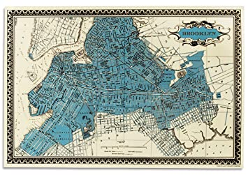 Amazoncom Screen Print by Charles Lahti Map of Brooklyn Posters