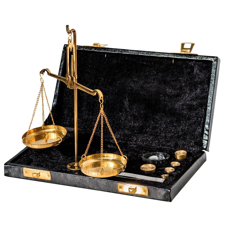 Bilancia ottone bilancetta di precisione bilancia dell'orafo stile antico - 19cm aubaho