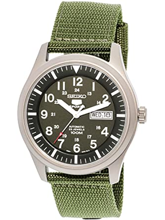 209795d1a59 Image Unavailable. Image not available for. Color  Seiko 5 Men s SNZG09K1  Sport Analog Automatic Khaki Green Canvas Watch