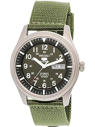 d5c7981bb Amazon.com: Seiko 5 Men's SNZG09K1 Sport Analog Automatic Khaki Green  Canvas Watch: Seiko: Watches