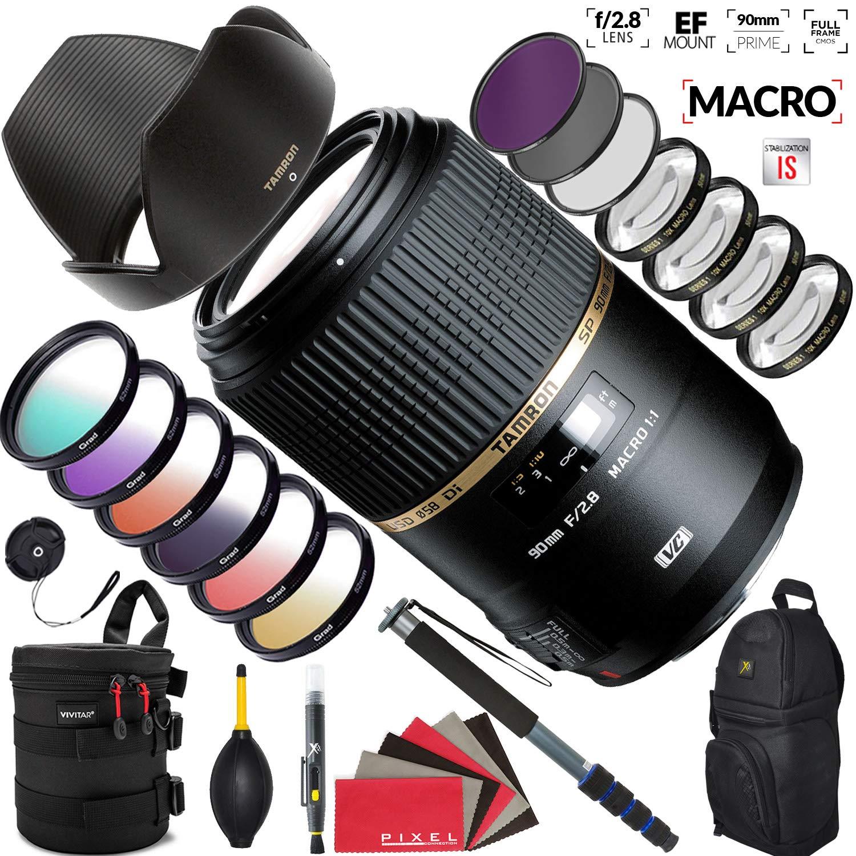 Tamron Tamron 90mm f/2.8 SP Di Macro 1:1 VC USD レンズ Canon用 高耐久レンズケースとアクセサリー付き Canon EF Mount  B07QD7PXV8