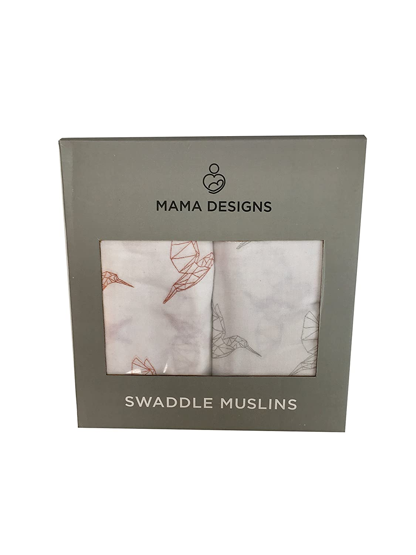 Mama Designs Super Soft 100% Cotton Muslin Swaddle with Hummingbird Design 120cm x 120cm