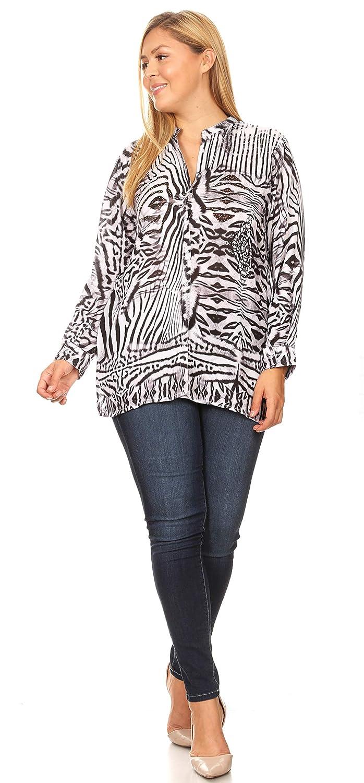 Sakkas Ditta kvinnor Casual Lös Långärmad Print Button Down Shirt Tunik blus Zbk211-svart