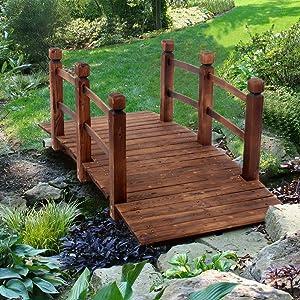 INFILM 5 ft Garden Bridge with Safety Rails, Wooden Arch Bridge Outdoor Small Bridge Arc Bridge Decoration for Backyard and Pond (Carbonization Color)