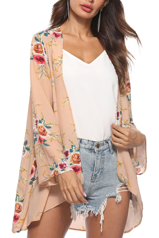 kyrakiss Womens Chiffon Bikini Swimsuit Cover up Cardigan Summer Beach Floral Loose Long Sleeve Casual Kimono Cardigan Caps