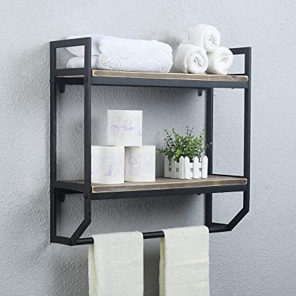 Incredible 2 Tier Metal Industrial 23 6 Bathroom Shelves Wall Mounted Rustic Wall Shelf Over Toilet Towel Rack With Towel Bar Utility Storage Shelf Rack Home Interior And Landscaping Ologienasavecom