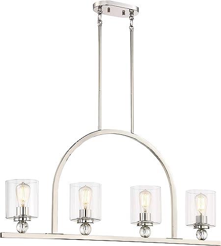 Minka Lavery Island Chandelier Mini Pendant Lighting 3074-613 Studio 5 Dining Room Fixture, 4-Light 240 Watts, Polished Nickel