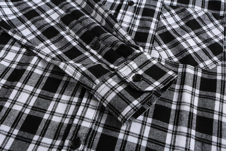 KateSui Mens Stylish Flannel Cotton Slim Fit Long Sleeve Button Down Plaid Dress Shirt