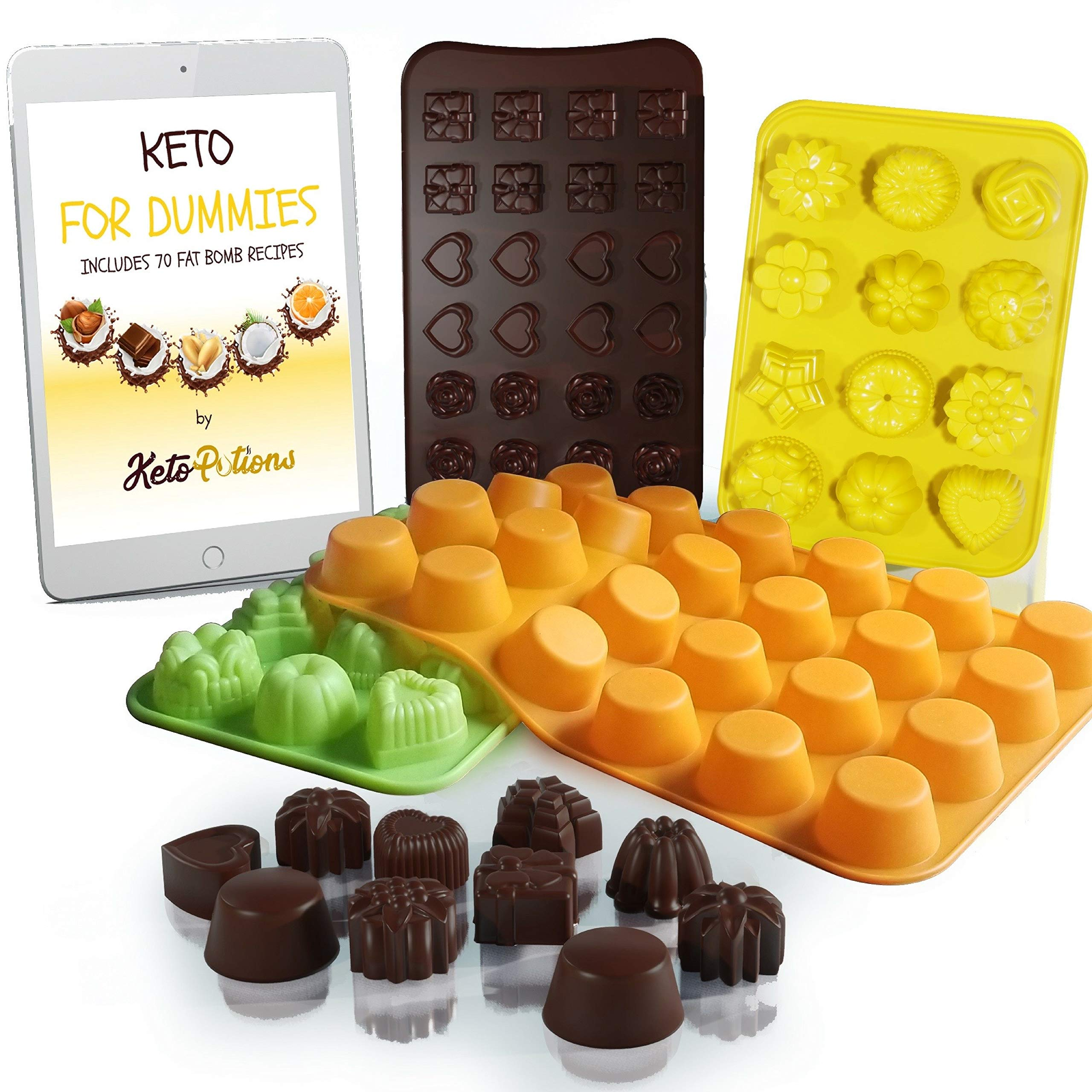 Keto Fat Bombs Silicone Molds - Cookbook: 70 Fat Bomb Keto Snacks Foods Low Carb Chocolate Recipes Ebook + Silicon Cupcake Muffin Baking Cups Pan Mold by KetoPotions