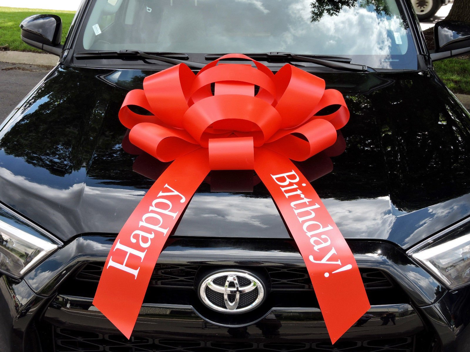 Eight24hours Red Happy Birthday Car Bow Vinyl Magnetic Back No Scratch 2.5 feet - Red
