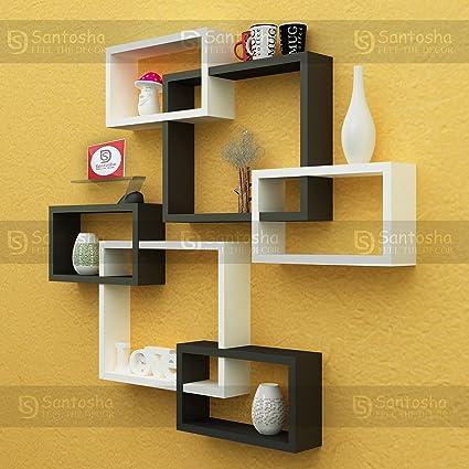 Santosha Decor Wall Decoration Shelf Rack Set Of 6 Intersecting ...