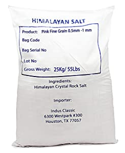 IndusClassic Kosher Pure Natural Halall Unprocessed Himalayan Edible Pink Cooking Sea Salt --- 55 Fine Grain 0.5mm to 1mm