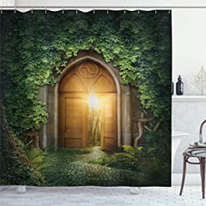 Ambesonne Fantasy Shower Curtain, Sunbeams Through The Mysterious Half Opened Wooden Entrance with Greenery, Cloth Fabric Bathroom Decor Set with Hooks, 70