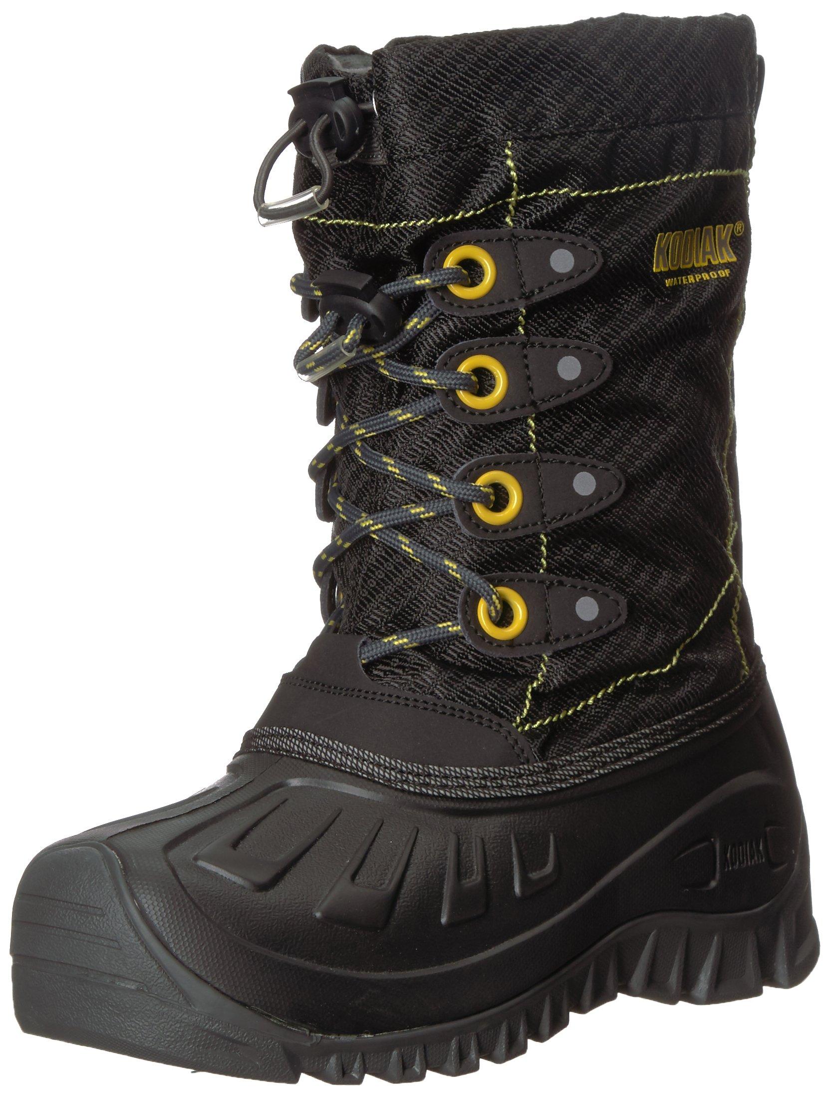Kodiak Boys' Charlie Snow Boot, Black/Grey/Laser Lemon, 12 M US Little Kid