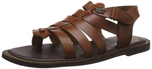 68fa4bcaa Image Unavailable. Image not available for. Colour  Alberto Torresi Men s Tan  Leather Sandals ...